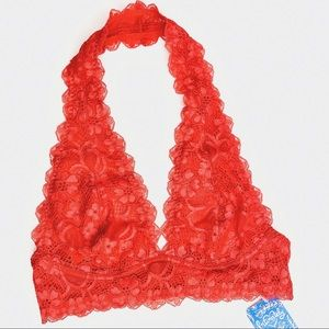 NWT Free People Galloon Lace Halter Red Bralette
